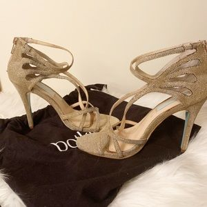 Never worn BETSEY JOHNSON gold stiletto heels